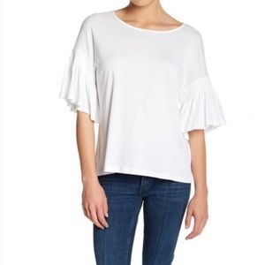 14th & Union White Bell Sleeve Top